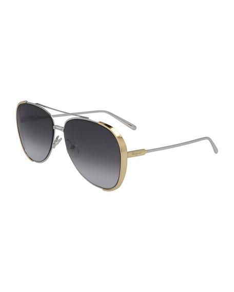 Salvatore Ferragamo Metal Aviator Sunglasses