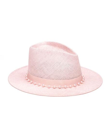 Eugenia Kim Blaine Pearly Embellished Sisal Fedora Hat