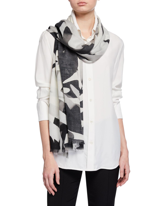 Leaf Print Cashmere/Silk Scarf