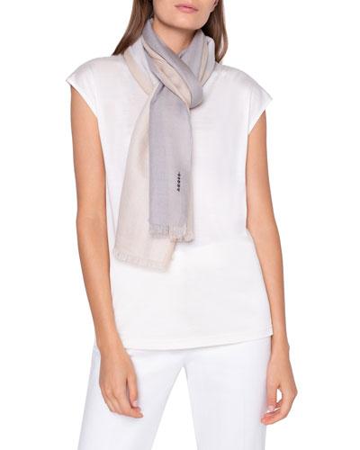 Colorblocked Cashmere Silk Scarf