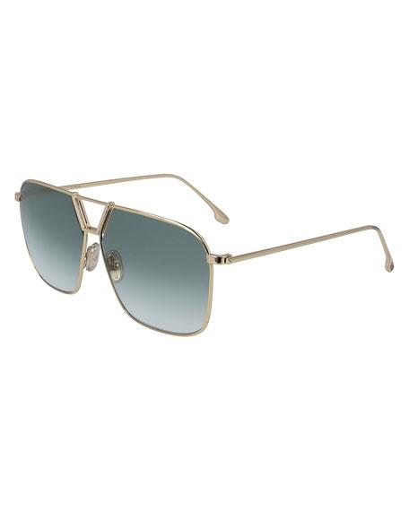 Victoria Beckham Double Bridge Metal Navigator Sunglasses
