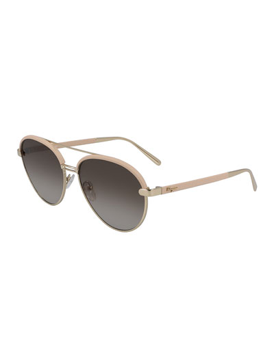 Metal & Leather Aviator Sunglasses