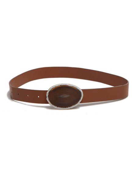 Gabriela Hearst Thin Agate-Buckle Belt