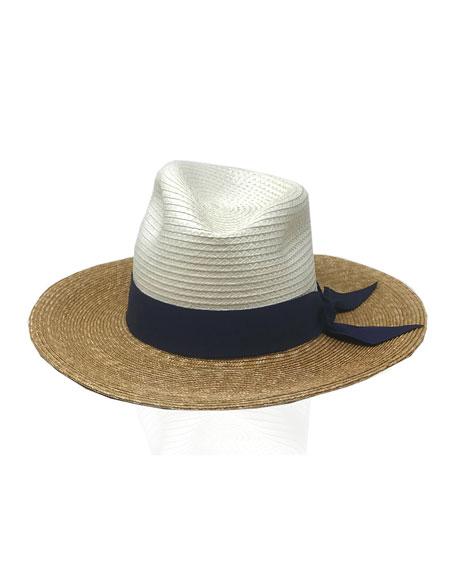 Gigi Burris Drake Tricolor Straw Fedora Hat