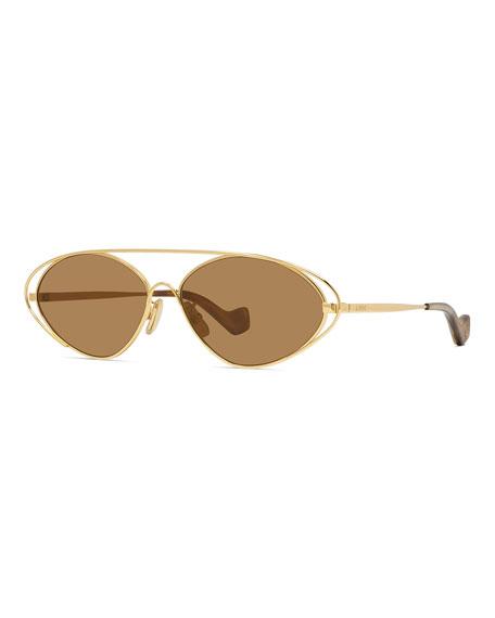 Loewe Oval Metal Cutout Sunglasses