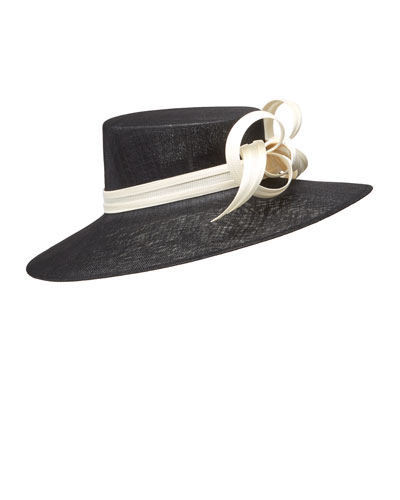 Formal Large Brim Hat w/ Contrast Buntal Bows