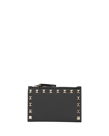 Valentino Garavani Rockstud Leather Zip Coin Purse/Card Holder