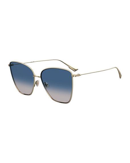 Dior DiorSociety1 Beaded Metal Square Sunglasses