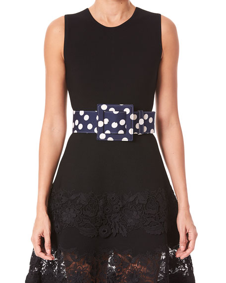 Carolina Herrera Polka Dot Square-Buckle Belt