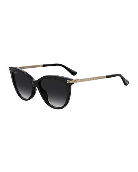 Jimmy Choo Axellegs Round Glitter Arm Sunglasses