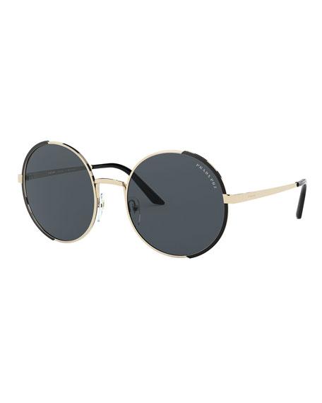 Prada Round Metal Polarized Sunglasses
