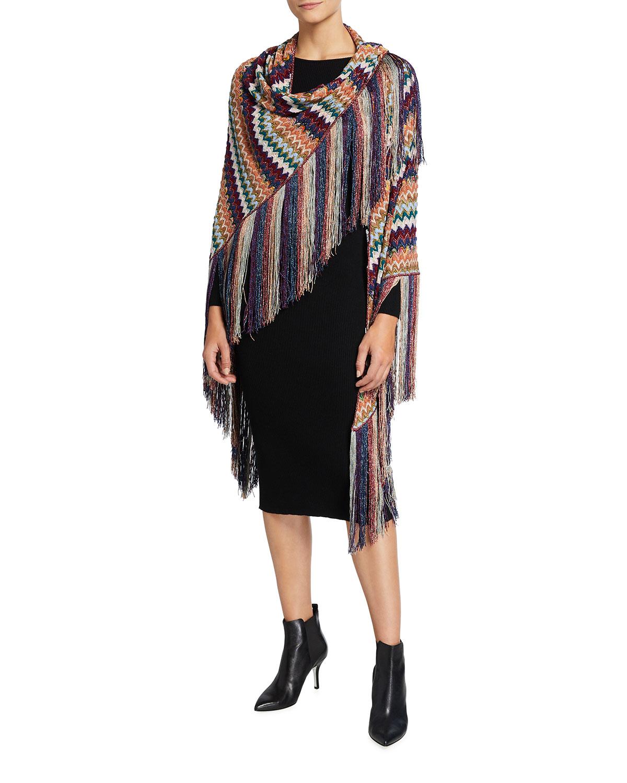 Zigzag Knit Viscose-Blend Stole with Fringe Trim