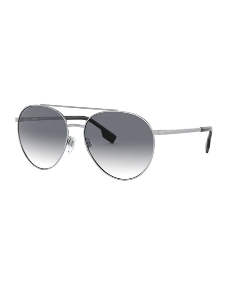 Burberry Aviator Steel Sunglasses w/ Check Arms