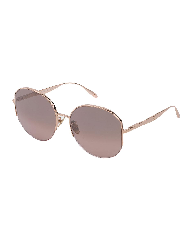 Semi-Rimless Round Titanium Sunglasses