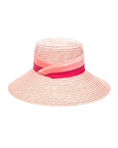 Eugenia Kim Annabelle Straw Sun Hat w/ Pleated Satin Band