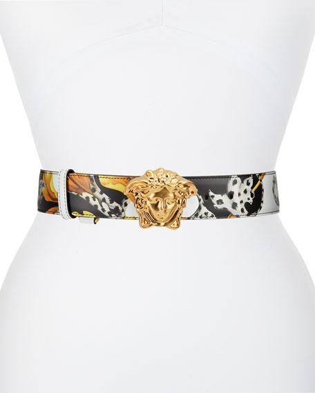 Versace Palazzo Leather Belt w/ Medusa Buckle