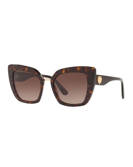 Dolce & Gabbana Printed Acetate Rectangle Sunglasses