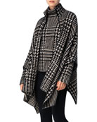 Akris Knit Plaid High-Neck Zip-Front Cape and Matching