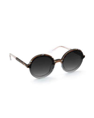 Louisa Nylon Round Sunglasses