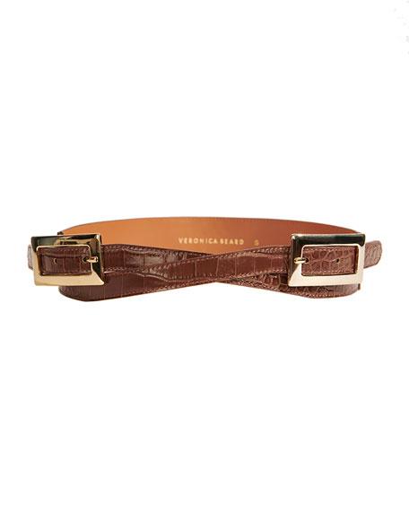 Veronica Beard Davina Double-Buckle Leather Belt