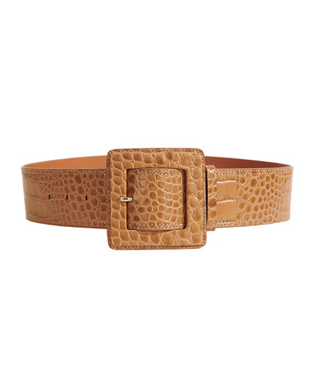Veronica Beard Corin Croc-Embossed Belt