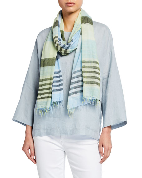 Eileen Fisher Plaid Handloomed Ethiopian Cotton Scarf