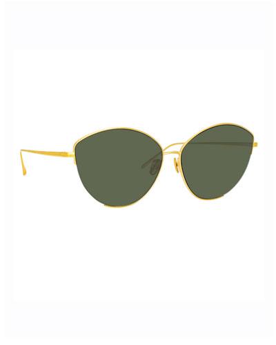 Ella Cat-Eye 22K Yellow Gold Sunglasses