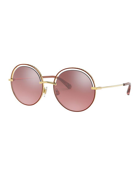 Dolce & Gabbana Round Halo Engraved Metal Sunglasses