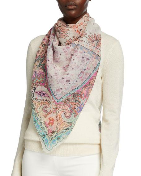 Etro Pastel Blocked Floral Print Silk Scarf