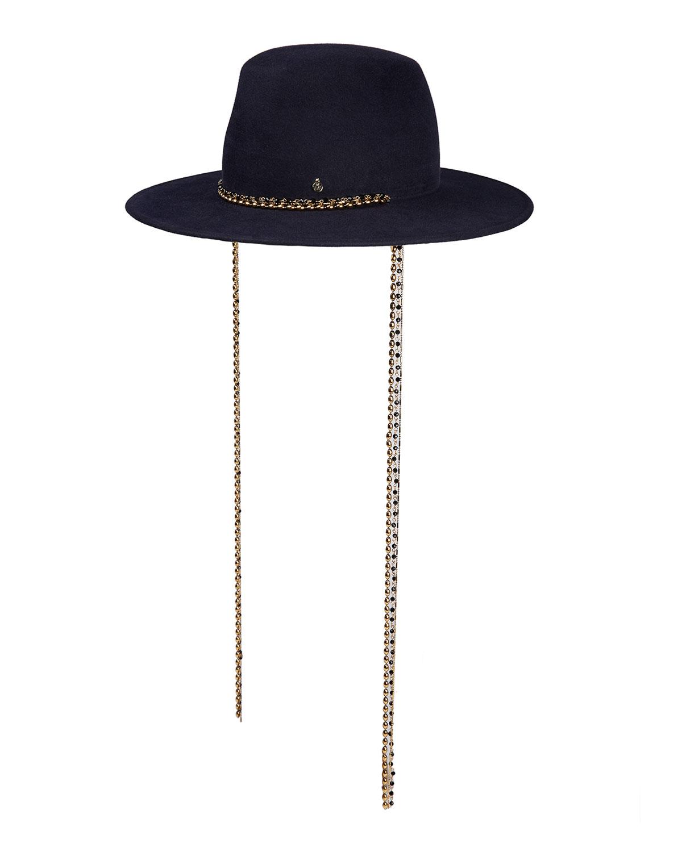 Kyra Fedora Hat w/ Pull-Through Chain Trim