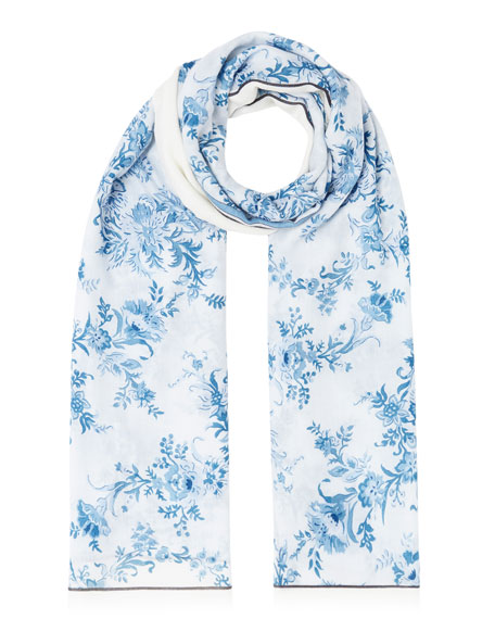Burberry Floral Logo Lightweight Cashmere Scarf
