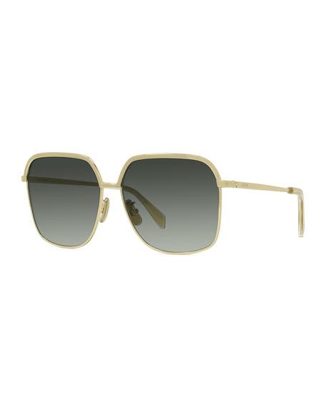 Celine Slim-Framed Square Metal Sunglasses