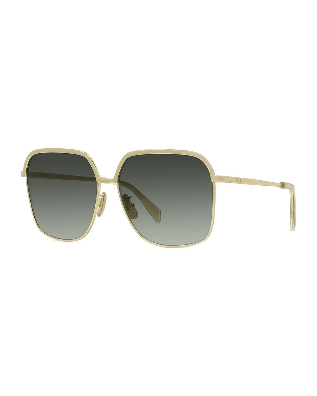Slim-Framed Square Metal Sunglasses