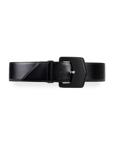 ALAIA Geometric Buckle Leather Belt