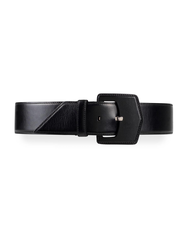 Geometric Buckle Leather Belt