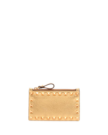 Valentino Garavani Rockstud Metallic Coin Purse/Card Case