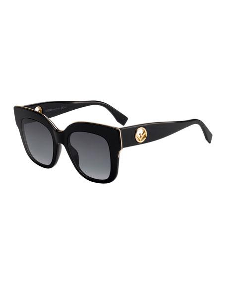 Fendi Square Acetate Sunglasses w/ Inset Logo Temples