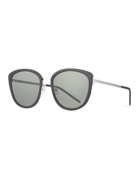 Saint Laurent Oversized Round Acetate/Metal Slim Sunglasses