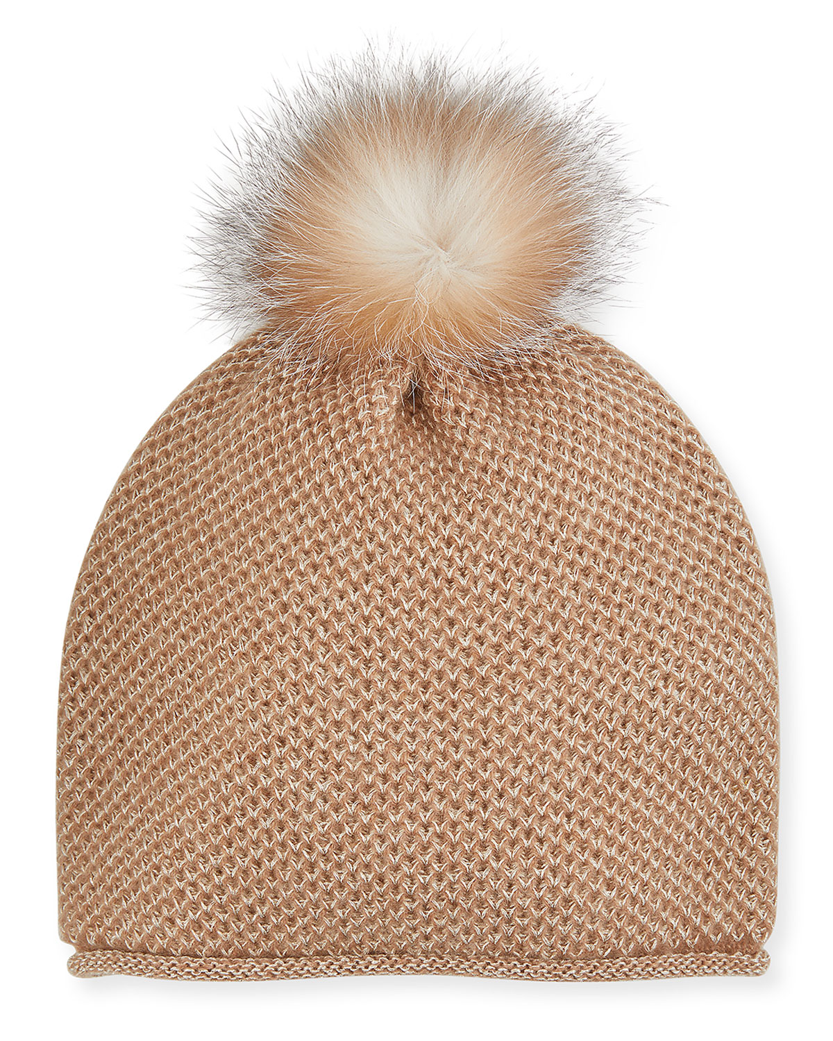 Sofia Cashmere HONEYCOMB METALLIC KNIT BEANIE WITH FUR POMPOM