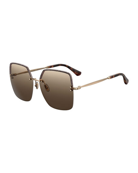 Jimmy Choo Tavi Rimless Square Metal Sunglasses