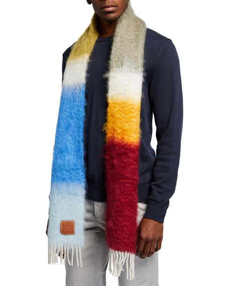 Loewe Men's Striped Mohair-Wool Scarf