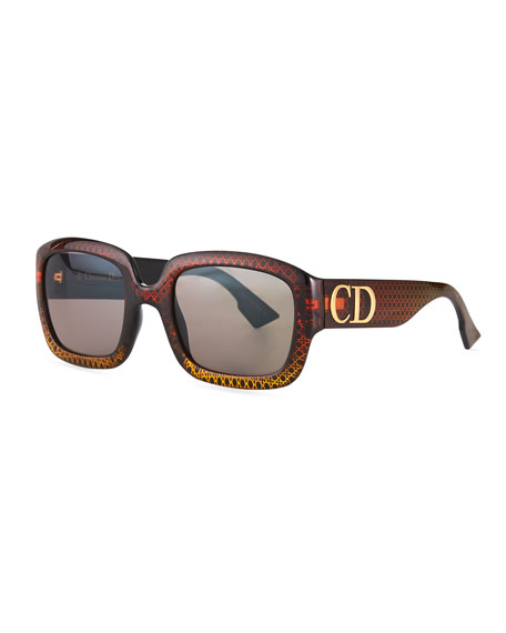 Dior Square Sunglasses w/ Oversized Logo Temples