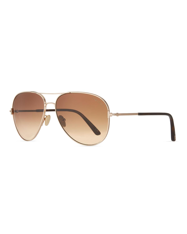 Tom Ford Sunglasses CLARK METAL AVIATOR SUNGLASSES, BROWN/GOLD