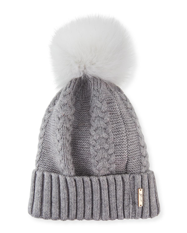 Knit Hat With Fox Pompom