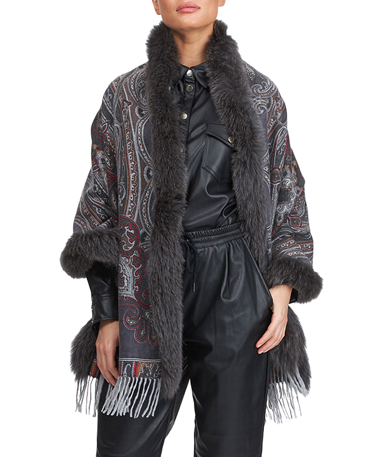 Double Face Cashmere Stole with Fox Fur Taping