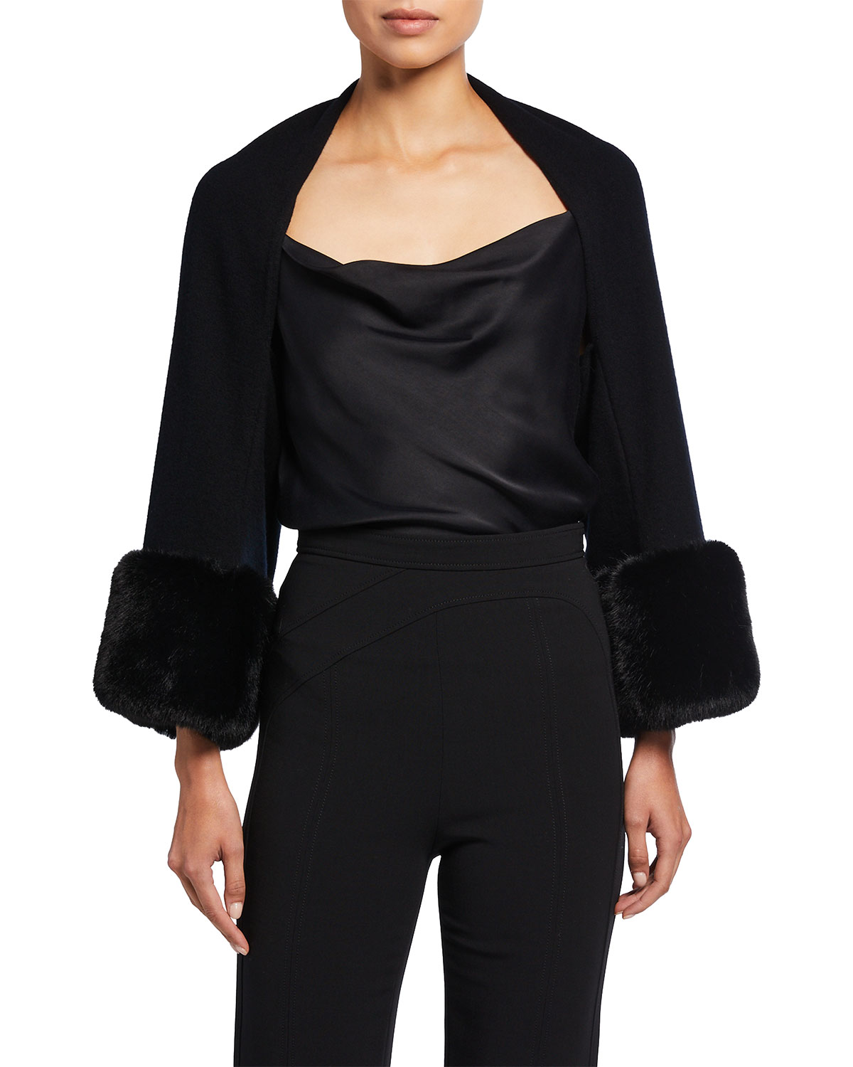 Belle Fare WOOL/CASHMERE SHRUG WITH OVERSIZED FAUX FUR CUFFS