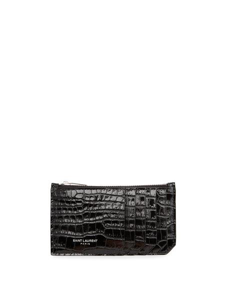 Saint Laurent Fragments Zipped Stamped Croc Glace Card Case