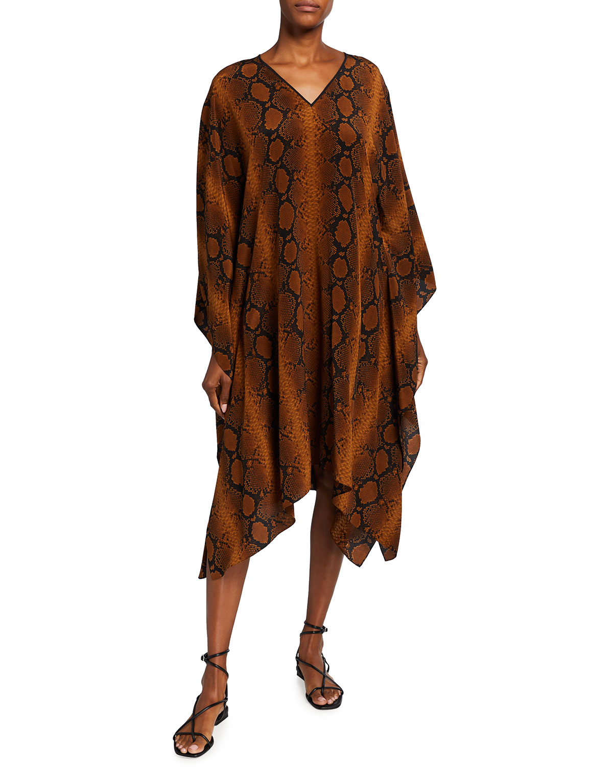 Michael Kors SNAKE-PRINT LONG-SLEEVE SILK CAFTAN