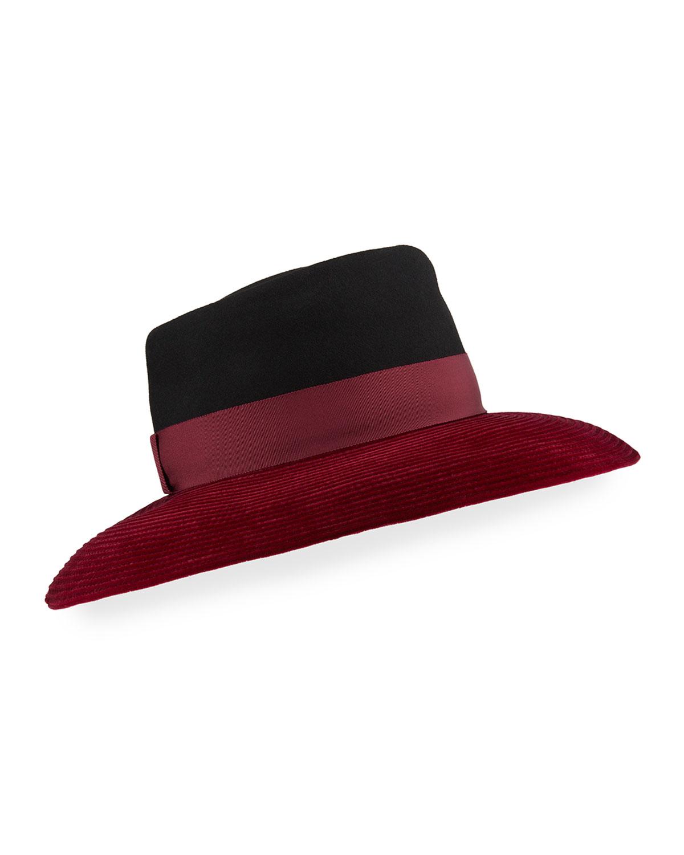 Christel Wool Felt & Velvet Wide-Brim Hat