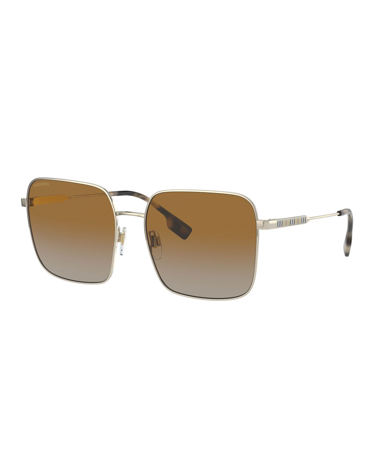 Burberry OVERSIZED SQUARE STEEL SUNGLASSES, GOLD/BROWN